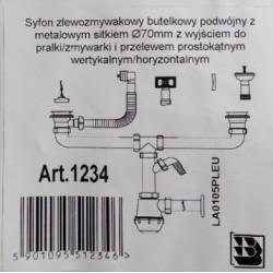 Syfon zlewozmywakowy dwukomorowy z przelewem Ani Plast