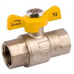 """Zawór gazowy 1/2"""" z motylkiem, gwint wewn/wewn. GZ-20-015 Invena"""