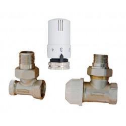 Komplet termostatyczny kątowy z nastawą wstępną CD-75-K15 Invena