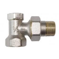 Zawór grzejnikowy kątowy powrotny ze śrubunkiem do rur stalowych CZ-51-K15-W Invena