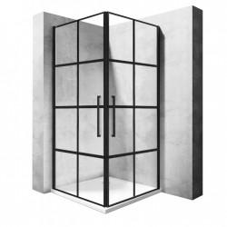 Kabina prostokątna 80x100 czarna kratka Rubik Rea